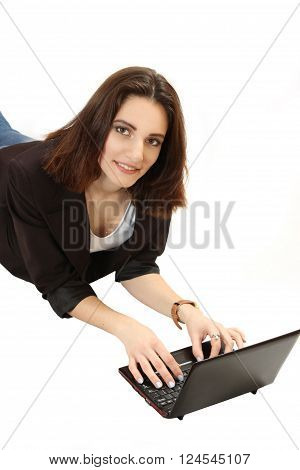 nice young girl with the netbook. isolated on a white background