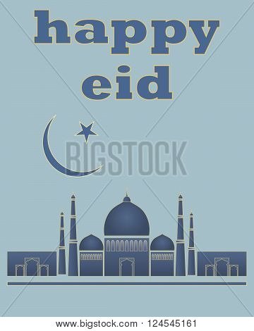 an illustration of a happy eid greeting card in blue and gold for the muslim festival