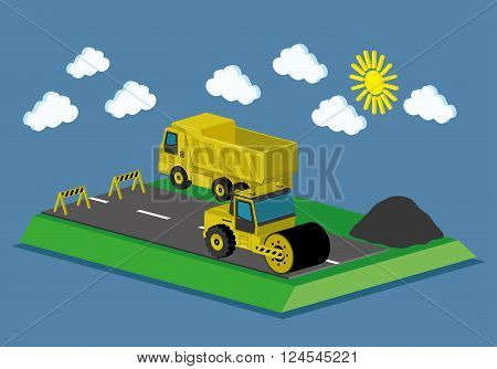 Web infographic concep transport construction machinery on the road