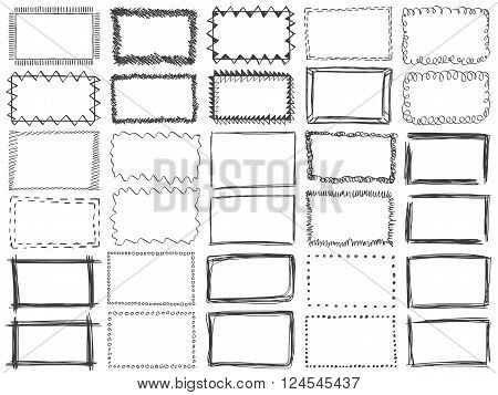 Frames doodle vector. Set of 25 simple doodles. Pencil effect collection. Curve borders. Set of simple doodles. Pencil effect isolated frames. Isolated on white background.