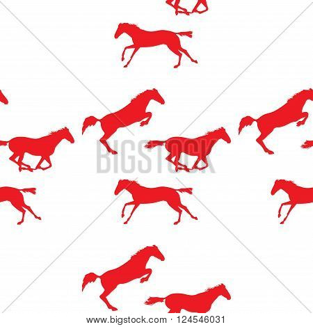 Red horse seamless pattern on isolated background. Background with Equine sports theme. Running and jumping herd of horses. Vector seamless pattern with horses