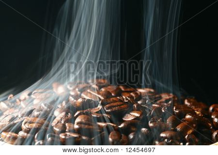 coffee beans in aroma smoke