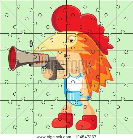 Vector puzzle game for children. Puzzle with boy. Jigsaw game for kid. Visual rebus puzzle educational game for preschool child
