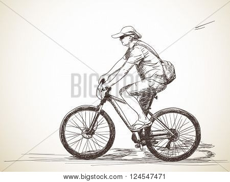 Sketch of man riding bicycle. Hand drawn vector illustration