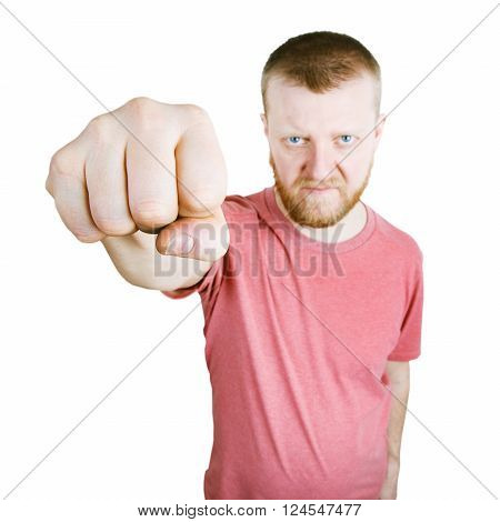 Man stretched out in front of a fist