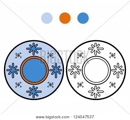 Coloring Book For Children. A Plate With Winter Pattern