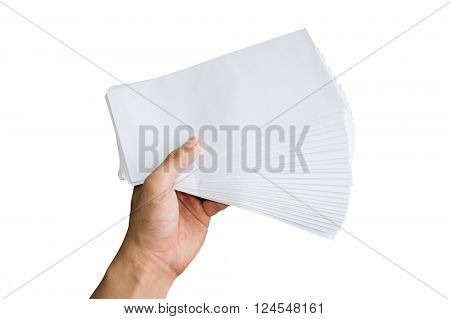 Holding white envelope letter office isolate on white background