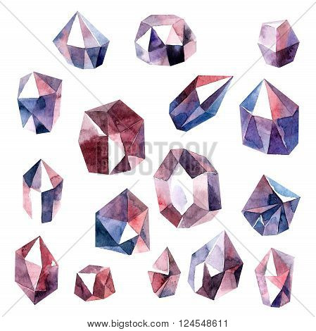 Watercolor painted diamond crystals of pink ametist. Isolated objects. Bitmap format.