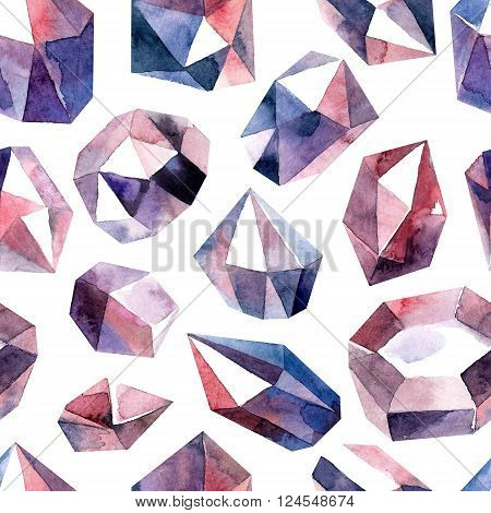 Watercolor painted diamond crystals. Seamless pattern in bitmap format.