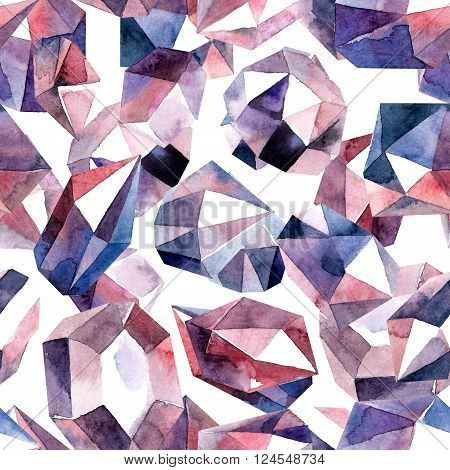 Abstract watercolor illustration of diamond crystals. Bitmap format. Seamless pattern