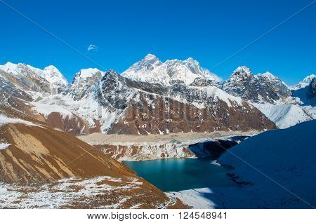Everest view from Renjo la pass in Himalayas Nepal. Gokyo lake