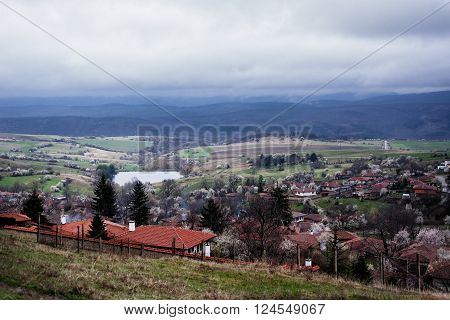 View of folk museum Zheravna village in Bulgaria Europe. Balkan mountain village.