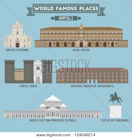 World Famous Place. Italy. Napoli. Geometric Icons Of Buildings