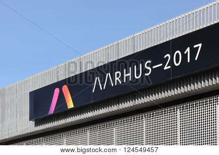 Aarhus, Denmark - April 1, 2016: Facade of the mediaspace at dokk1 in Aarhus announcing Aarhus European capital of culture in 2017