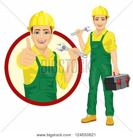 handsome worker holding adjustable wrench wearing green uniform holding tool box isolated on white