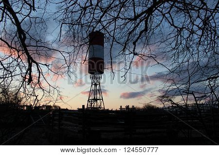 A large water tower red and white on the Curonian spit
