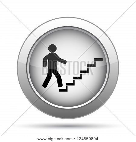 Businessman on stairs - success icon. Internet button on white background.