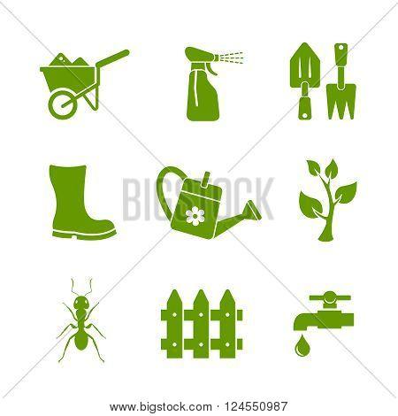 Gardening and farm icons. Editable vector set
