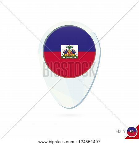 Haiti Flag Location Map Pin Icon On White Background.