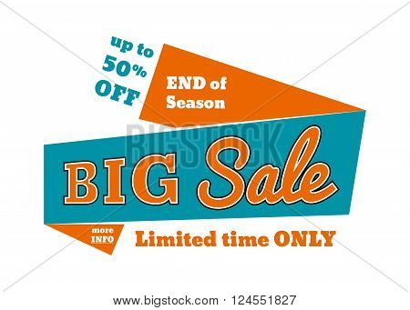 Big sale - limited time only, banner, poster for web or print, vector template, sale banner, ribbon banner, red banner, trade banner