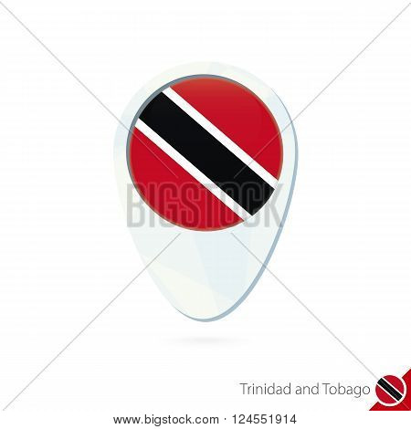 Trinidad And Tobago Flag Location Map Pin Icon On White Background.