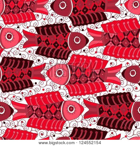 Decorative seamless background pattern with red fishes and contour drawing waves . Textile sea background. Vector illustration