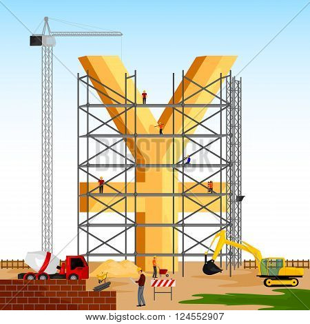vector illustration of structure building of Yuan