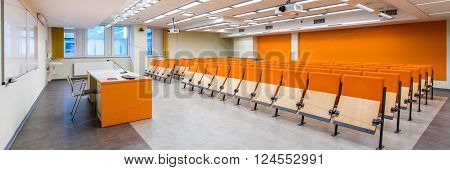 Photo of new up-to-date designed classroom for lectures in medical university