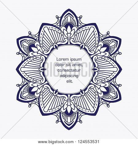 Unusual, Hexagonal, Blue Lace Frame, Decorative Element With Empty Place For Your Text. Vector Illus