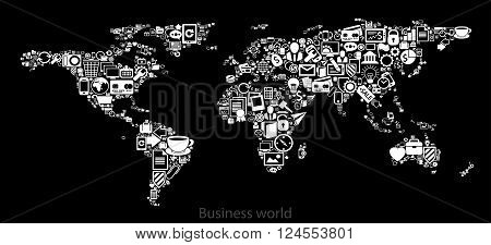 map of the world painted icons depicting various business areas