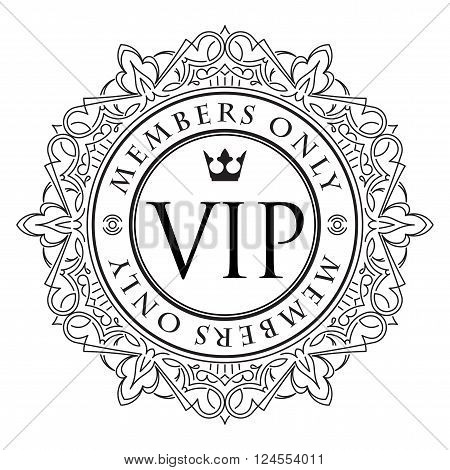 Rich Decorate Vip Decor With Unusual Stylish  Ornate  Round Frame, Caption Members Only And Crown.