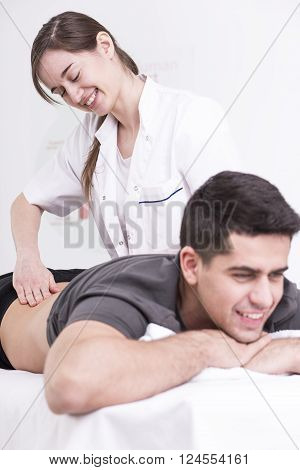 Happy Man During Therapeutic Massage