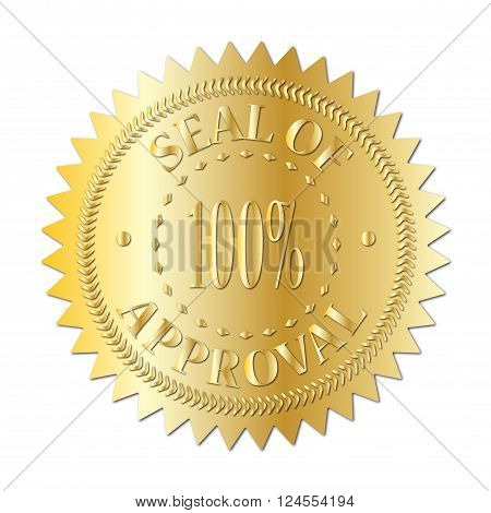 A gold seal of approval badge isolated on a white background