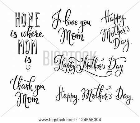 Happy Mothers day lettering. Calligraphy postcard or poster graphic design lettering element. Hand written calligraphy Mothers Day postcard design.