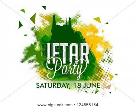Ramadan Kareem, Iftar Party celebration Invitation Card design with creative illustration of green Mosque on abstract paint stroke background.