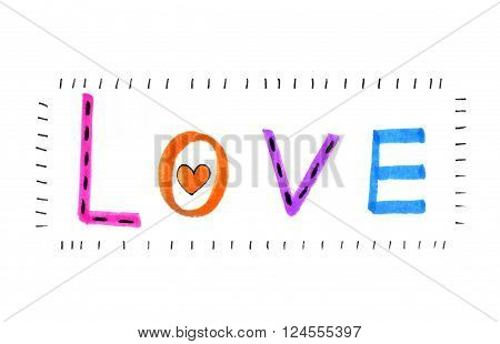 Color word ''Love'' with abstract heart on white background