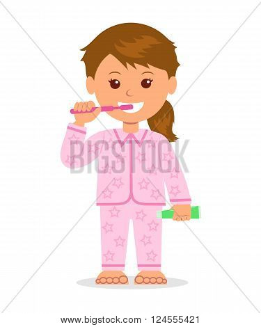 The child in pajamas brushing teeth before bedtime. Oral hygiene. Isolated cartoon character girl with a toothbrush and toothpaste in a hand. Taking care of dental health.