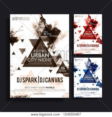 Abstract Template, Banner or Flyer design in three different colors for Electro Urban City Night, Party celebration.