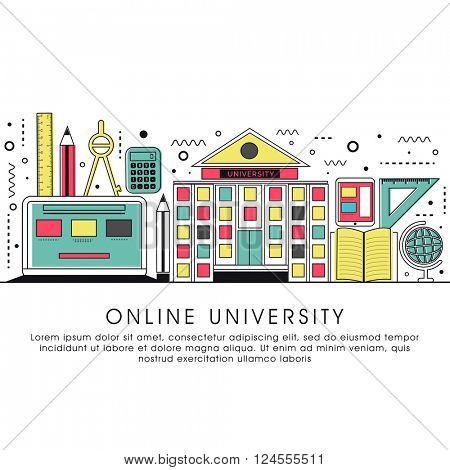 Online University, Online Education, Distance Learning, Workshop Learning concepts. Modern Flat design graphic for web banner, hero image, website slider. Creative Line art vector illustration.