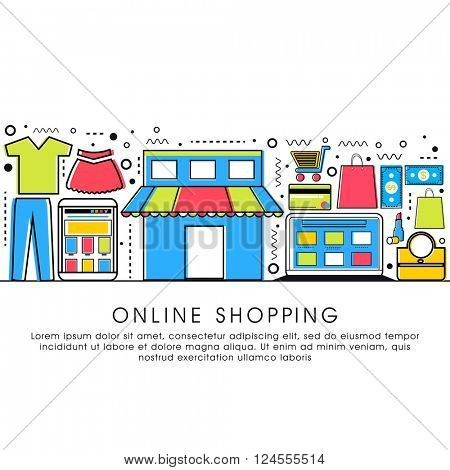 Modern flat style illustration with thin line icons of Online Shopping process, Internet Merchant Marketplace, Customer Order Delivery. One page Web Design template, Hero Image concept..