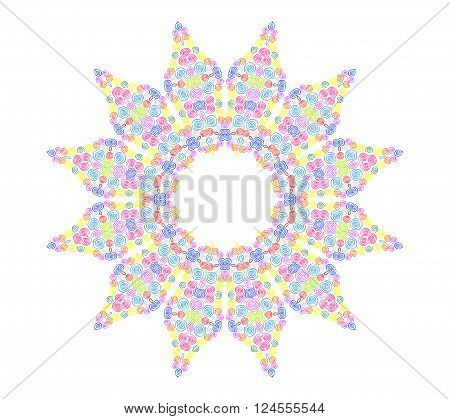 Abstract concentric pattern from curl color lines on white background for design
