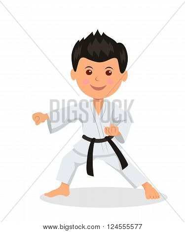 Child fighter is engaged in karate-do. Isolated character male in a kimono with a black belt martial arts perform exercises.