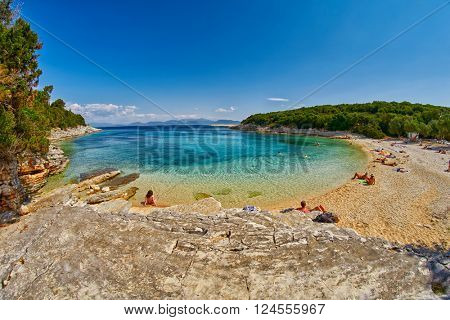 Fiskardo Foki Beach with Crystal Clear Waters Bay
