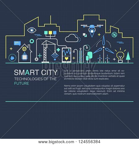 Modern minimal linear design. Illustration of innovations and Internet of things. Green home and technologies.
