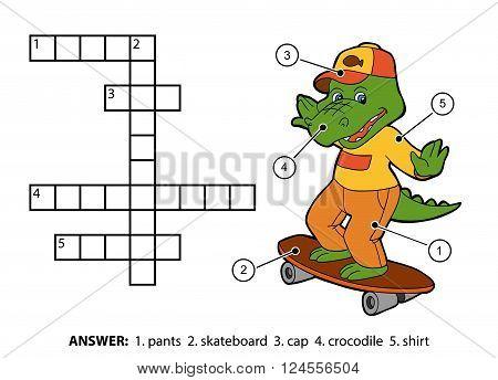 Vector Color Crossword. Cheerful Crocodile On A Skateboard