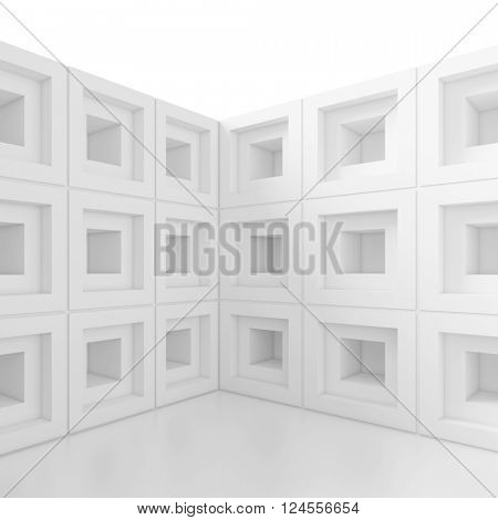 3d Illustration of White Modern Architecture Background