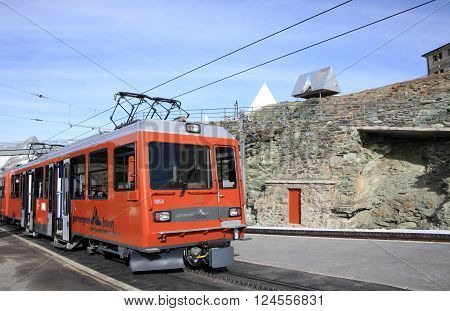 ZERMATT, SWITZERLAND- Nov 14, 2015: Gornergrat railway station on Matterhorn mountain on Nov 14, 2015 in Zermatt , Switzerland. It is one of the highest railway stations in Switzerland.