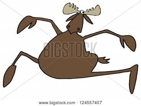 Illustration depicting a bull moose prancing through the air.