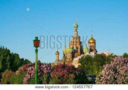 Early morning near the church of the Savior on Spilled Blood in Saint Petersburg city in Russia. Common pattern of Russian Architecture