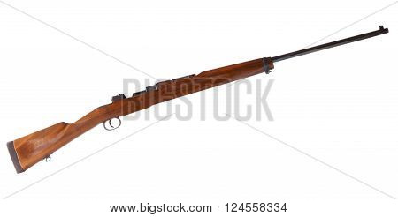 Bolt action rifle with the bolt out isolated on white